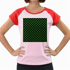 Scales1 Black Marble & Green Colored Pencil Women s Cap Sleeve T Shirt