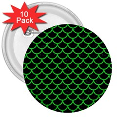 Scales1 Black Marble & Green Colored Pencil 3  Buttons (10 Pack)