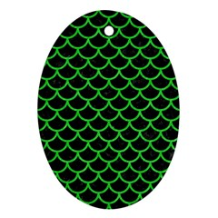 Scales1 Black Marble & Green Colored Pencil Oval Ornament (two Sides)