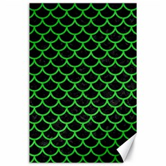 Scales1 Black Marble & Green Colored Pencil Canvas 24  X 36