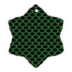 Scales1 Black Marble & Green Colored Pencil Snowflake Ornament (two Sides)