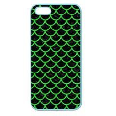 Scales1 Black Marble & Green Colored Pencil Apple Seamless Iphone 5 Case (color)