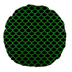Scales1 Black Marble & Green Colored Pencil Large 18  Premium Flano Round Cushions