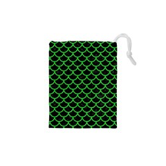 Scales1 Black Marble & Green Colored Pencil Drawstring Pouches (xs)