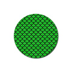 Scales1 Black Marble & Green Colored Pencil (r) Rubber Coaster (round)