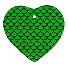 Scales1 Black Marble & Green Colored Pencil (r) Heart Ornament (two Sides)