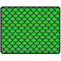 Scales1 Black Marble & Green Colored Pencil (r) Double Sided Fleece Blanket (medium)