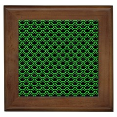 Scales2 Black Marble & Green Colored Pencil Framed Tiles