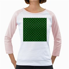 Scales2 Black Marble & Green Colored Pencil Girly Raglans