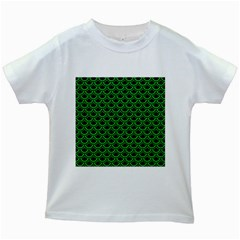 Scales2 Black Marble & Green Colored Pencil Kids White T Shirts