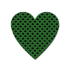Scales2 Black Marble & Green Colored Pencil Heart Magnet
