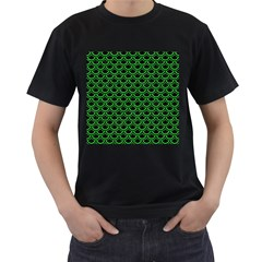 Scales2 Black Marble & Green Colored Pencil Men s T Shirt (black) (two Sided)