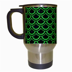 Scales2 Black Marble & Green Colored Pencil Travel Mugs (white)