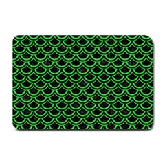 Scales2 Black Marble & Green Colored Pencil Small Doormat