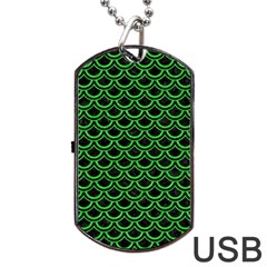 Scales2 Black Marble & Green Colored Pencil Dog Tag Usb Flash (one Side)