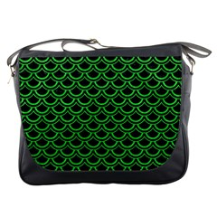 Scales2 Black Marble & Green Colored Pencil Messenger Bags