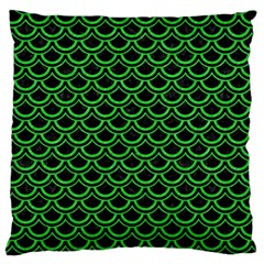 Scales2 Black Marble & Green Colored Pencil Large Cushion Case (one Side)