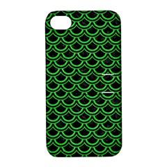 Scales2 Black Marble & Green Colored Pencil Apple Iphone 4/4s Hardshell Case With Stand