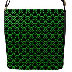 Scales2 Black Marble & Green Colored Pencil Flap Messenger Bag (s)