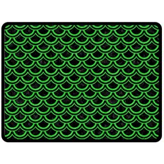 Scales2 Black Marble & Green Colored Pencil Double Sided Fleece Blanket (large)