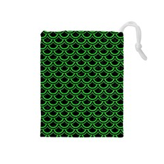 Scales2 Black Marble & Green Colored Pencil Drawstring Pouches (medium)