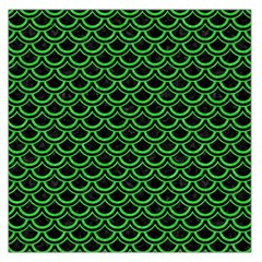 Scales2 Black Marble & Green Colored Pencil Large Satin Scarf (square)