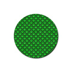 Scales2 Black Marble & Green Colored Pencil (r) Rubber Round Coaster (4 Pack)