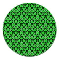 Scales2 Black Marble & Green Colored Pencil (r) Magnet 5  (round)