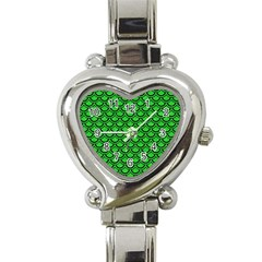 Scales2 Black Marble & Green Colored Pencil (r) Heart Italian Charm Watch