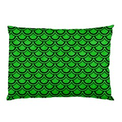 Scales2 Black Marble & Green Colored Pencil (r) Pillow Case (two Sides)