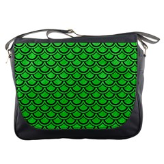 Scales2 Black Marble & Green Colored Pencil (r) Messenger Bags