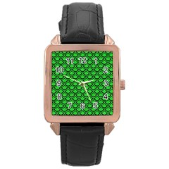 Scales2 Black Marble & Green Colored Pencil (r) Rose Gold Leather Watch