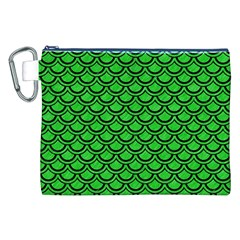 Scales2 Black Marble & Green Colored Pencil (r) Canvas Cosmetic Bag (xxl)