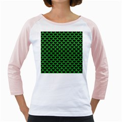 Scales3 Black Marble & Green Colored Pencil Girly Raglans