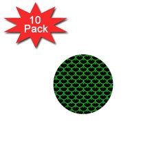 Scales3 Black Marble & Green Colored Pencil 1  Mini Buttons (10 Pack)