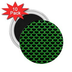 Scales3 Black Marble & Green Colored Pencil 2 25  Magnets (10 Pack)