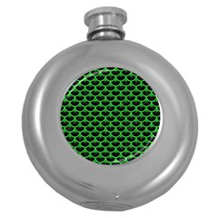 Scales3 Black Marble & Green Colored Pencil Round Hip Flask (5 Oz)