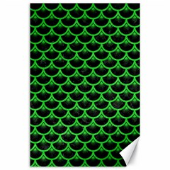 Scales3 Black Marble & Green Colored Pencil Canvas 24  X 36