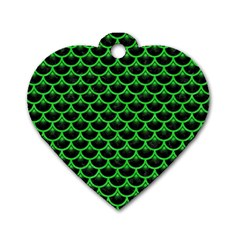 Scales3 Black Marble & Green Colored Pencil Dog Tag Heart (two Sides)