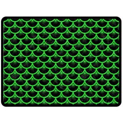 Scales3 Black Marble & Green Colored Pencil Fleece Blanket (large)