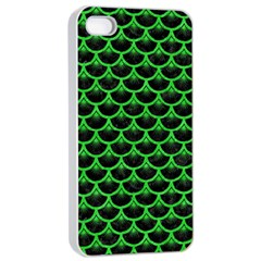 Scales3 Black Marble & Green Colored Pencil Apple Iphone 4/4s Seamless Case (white)