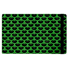 Scales3 Black Marble & Green Colored Pencil Apple Ipad 3/4 Flip Case