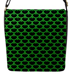 Scales3 Black Marble & Green Colored Pencil Flap Messenger Bag (s)