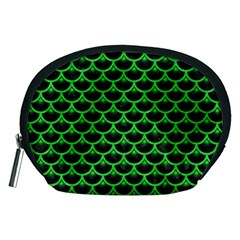 Scales3 Black Marble & Green Colored Pencil Accessory Pouches (medium)