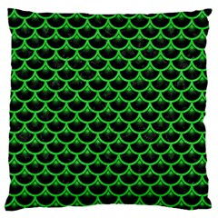 Scales3 Black Marble & Green Colored Pencil Large Flano Cushion Case (one Side)