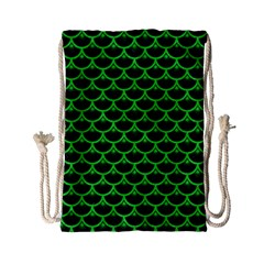 Scales3 Black Marble & Green Colored Pencil Drawstring Bag (small)