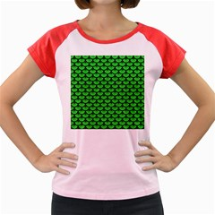 Scales3 Black Marble & Green Colored Pencil (r) Women s Cap Sleeve T Shirt