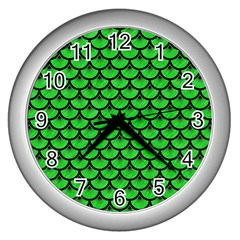 Scales3 Black Marble & Green Colored Pencil (r) Wall Clocks (silver)