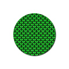 Scales3 Black Marble & Green Colored Pencil (r) Rubber Coaster (round)