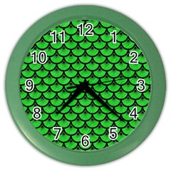 Scales3 Black Marble & Green Colored Pencil (r) Color Wall Clocks